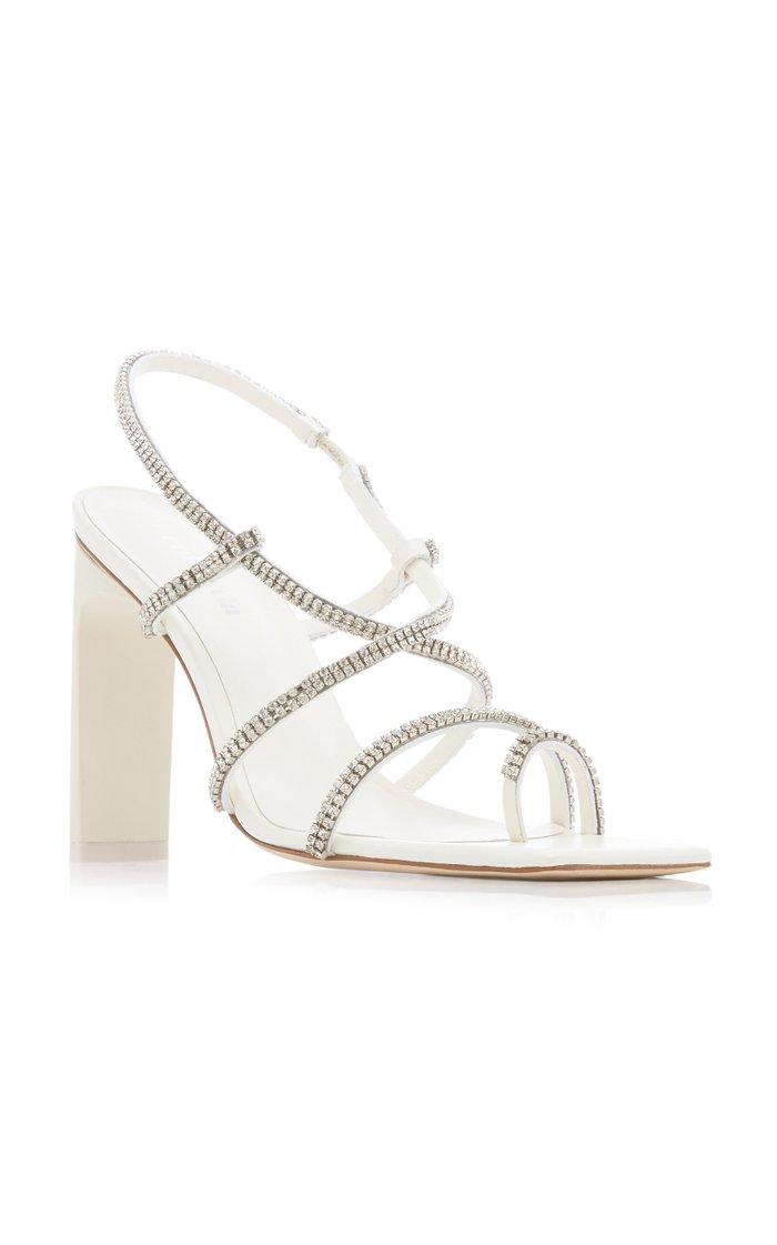 Sandra Embellished Leather Slingback Sandals