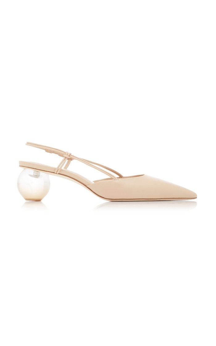 Aliza Leather And Acrylic Slingback Mules