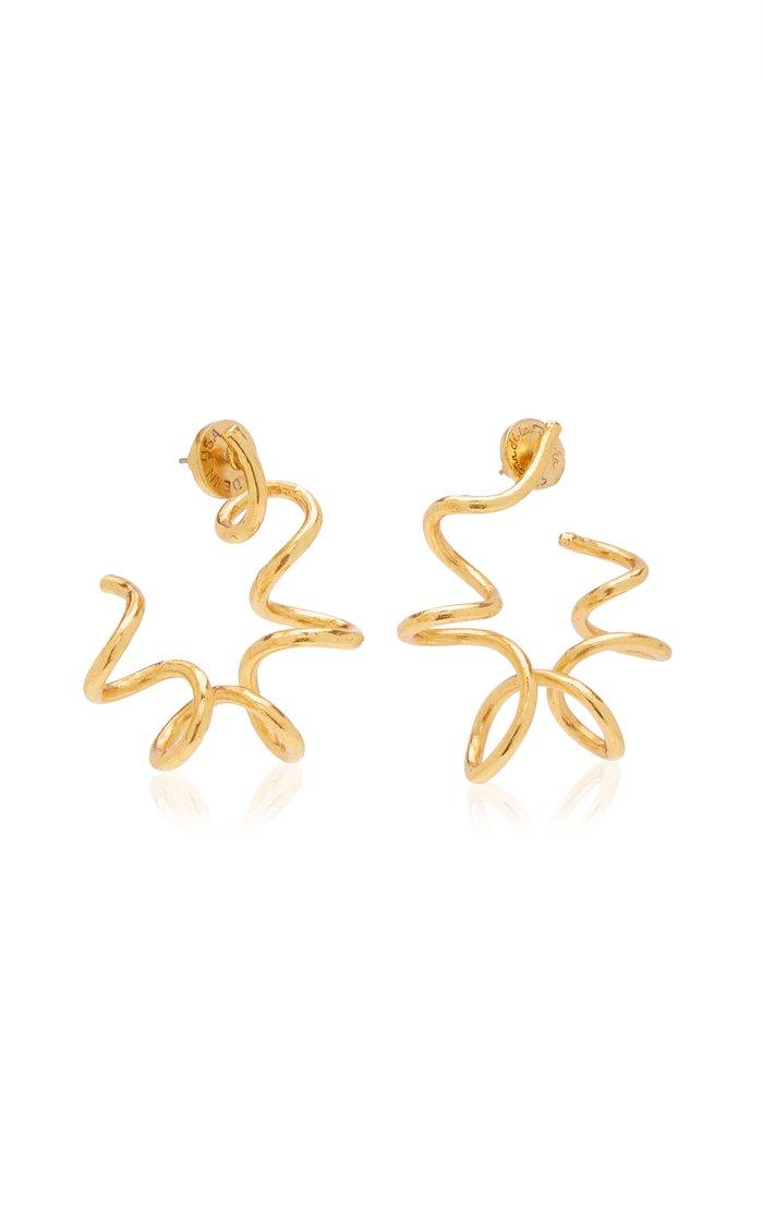 Spiral Brass and Pewter Hoop Earrings
