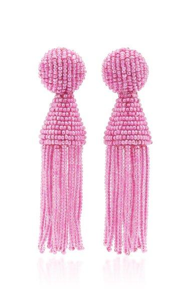 Beaded Tassel Clip-On Earrings