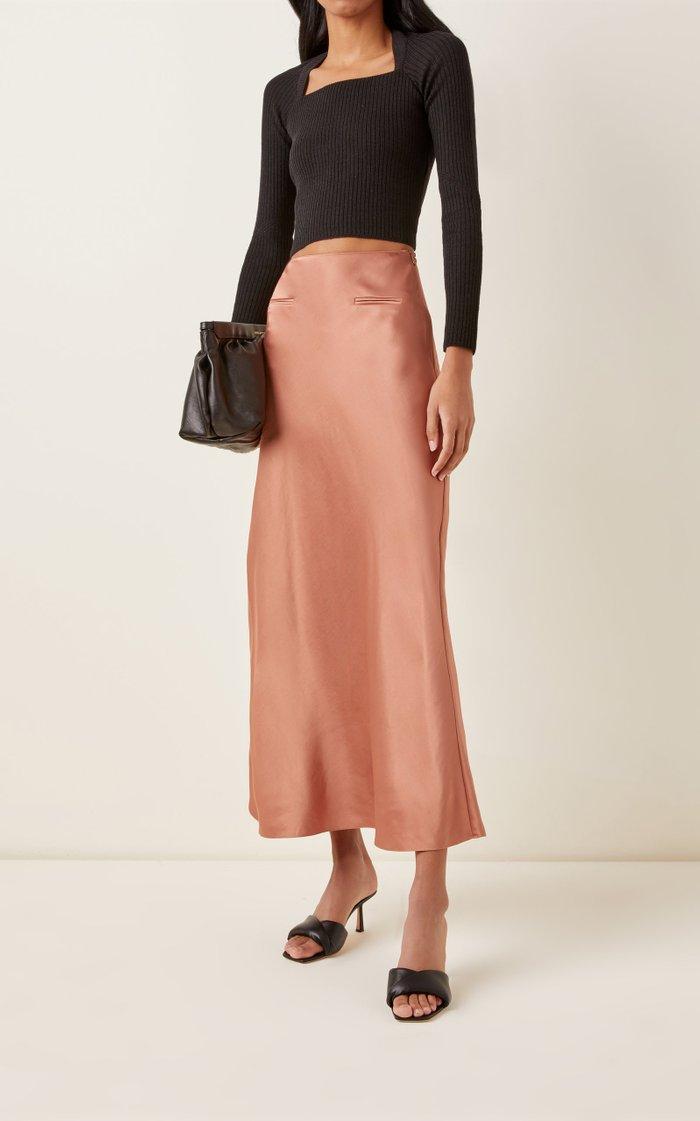 High-Rise Satin Maxi Skirt