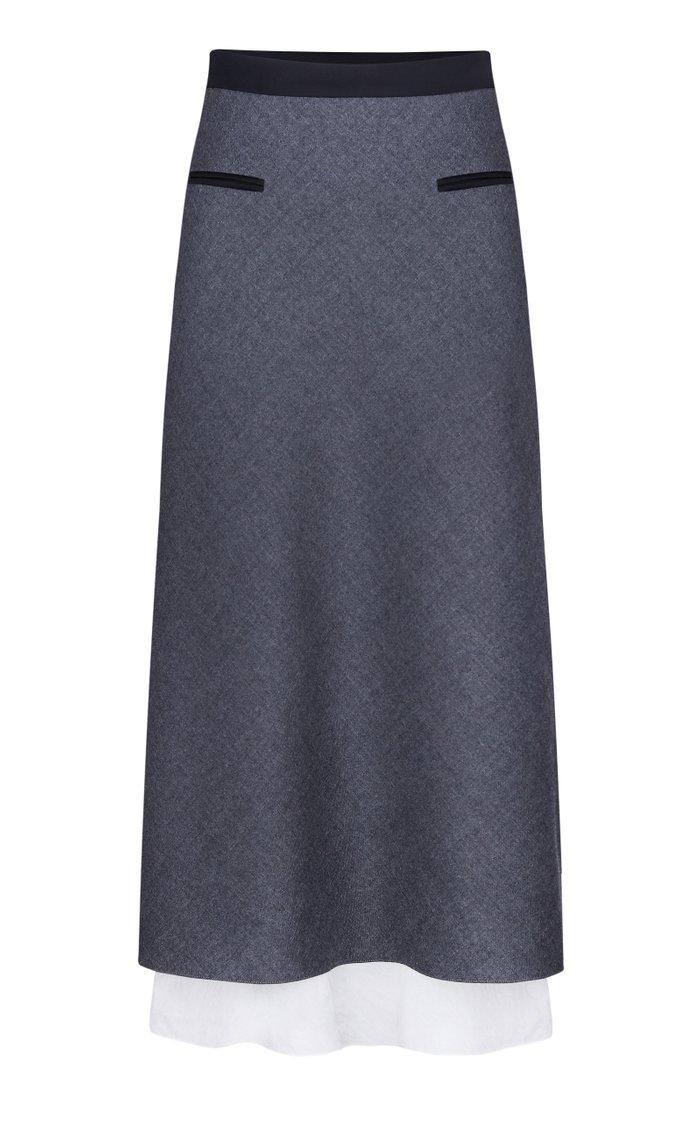 High-Rise Wool Pencil Skirt