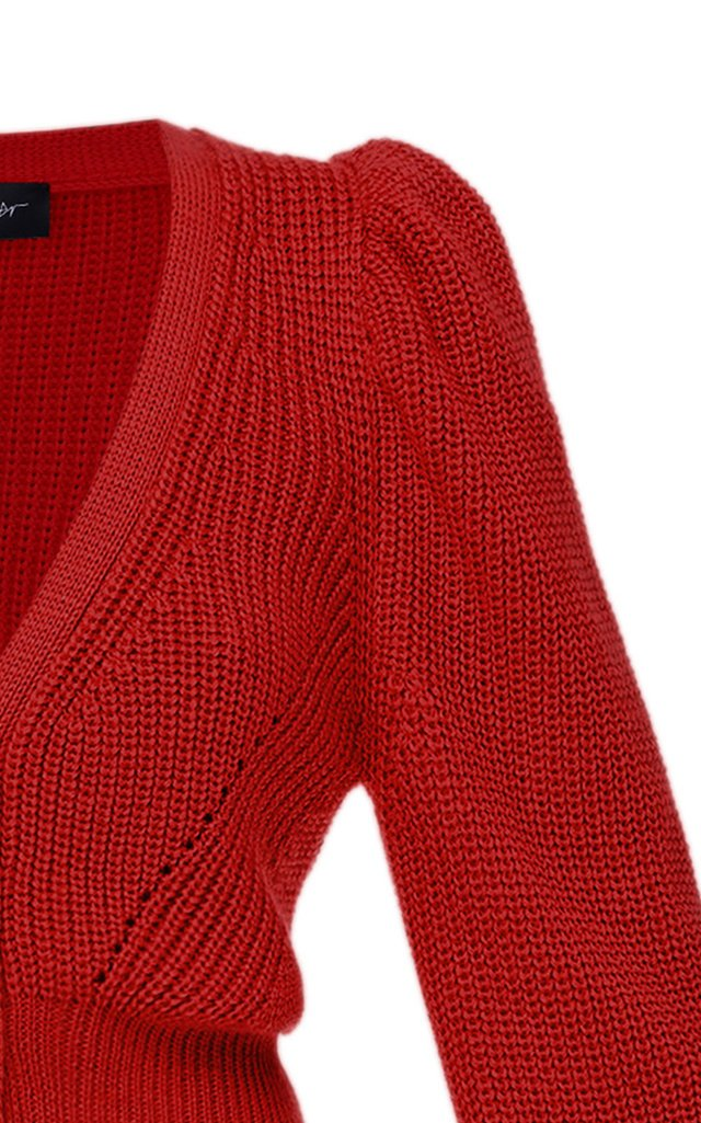 Puffed-Sleeve Ribbed-Knit Sweater