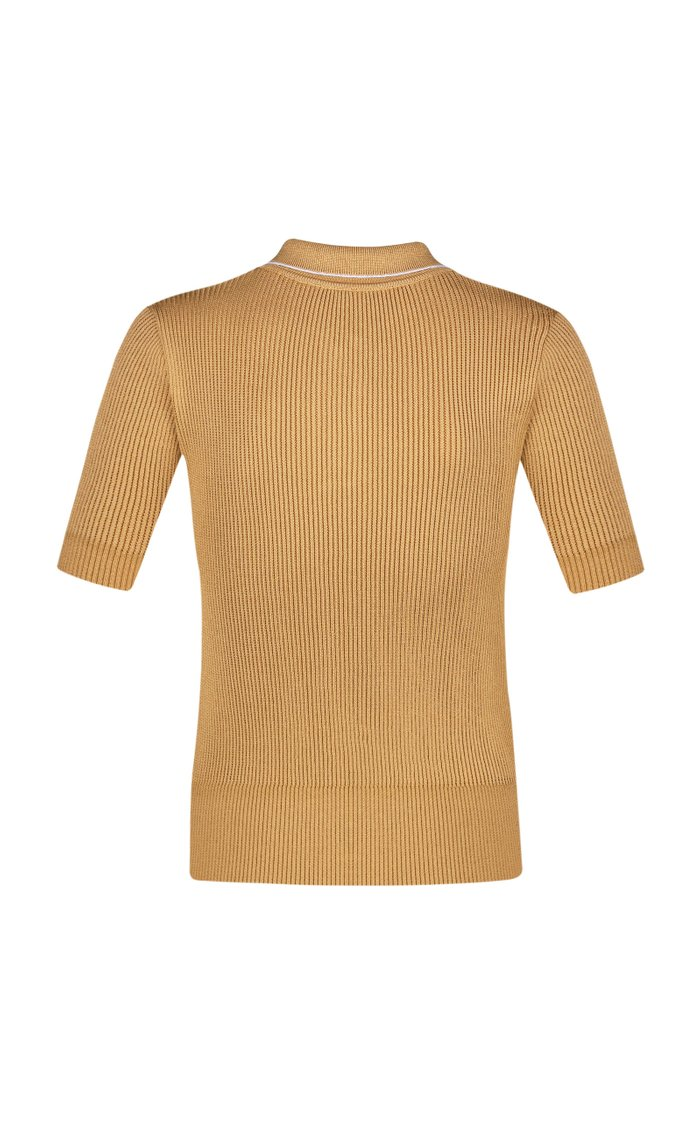 Ribbed-Knit Polo Top