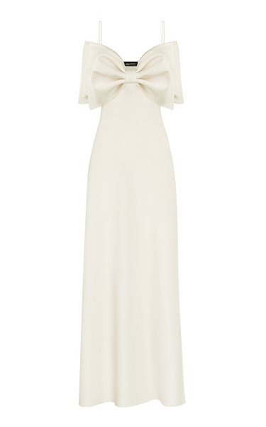 Bow-Embellished Satin Maxi Dress