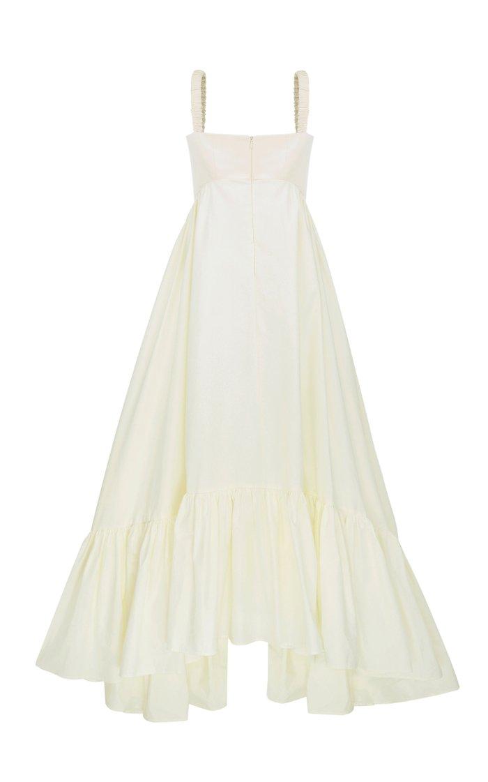 Asymmetric Cotton-Blend Maxi Dress