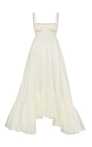 Snowdrop Asymmetric Cotton-Blend Maxi Dress