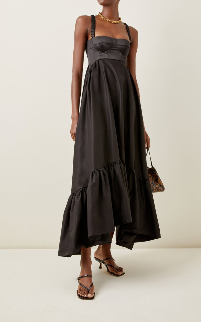 Asymmetric Cotton-Blend Maxi Dress