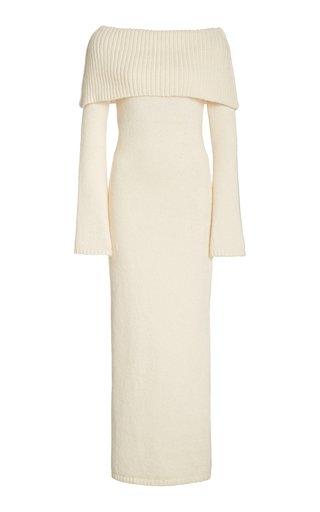 Mariel Off-The-Shoulder Ribbed-Knit Midi Dress