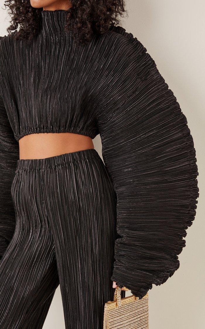 Mala Balloon-Sleeve Velvet Cropped Top