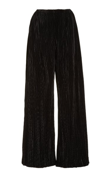 Stacie Plissé-Satin Wide-Leg Pants