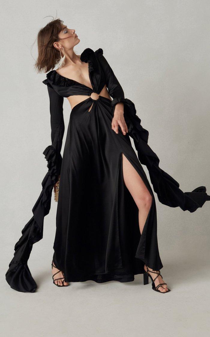 Kaia Cutout Ruffled Satin Gown