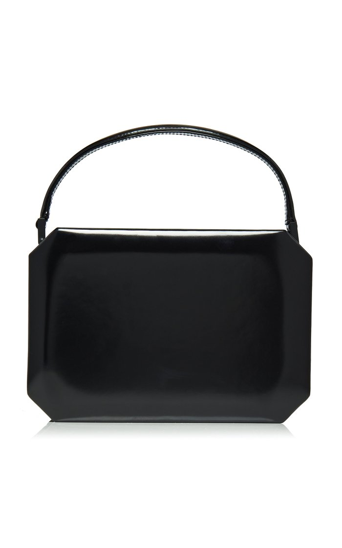 Logo Patent Leather Top Handle Bag