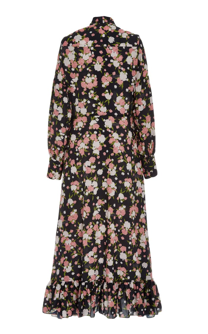 Ruffled Floral Crepe Tie-Neck Midi Dress
