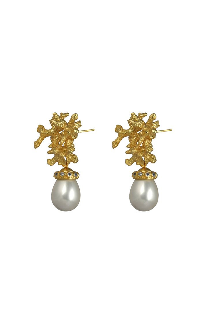 Gold-Plated Pearl Coral Earrings