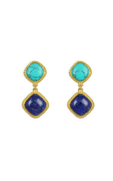 Lapis And Turquoise Hali Earrings