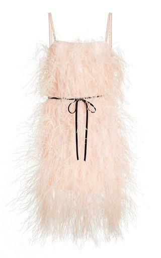 Specialorder-Feather-Embellished Satin Slip Dress-MM