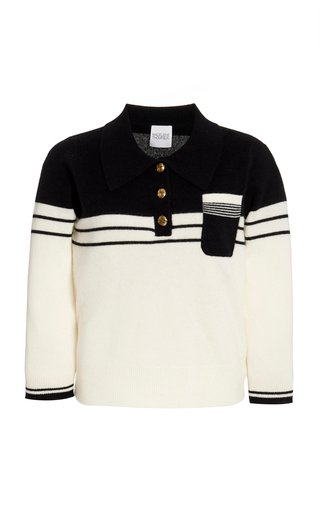 Two-Tone Cashmere Polo Sweater