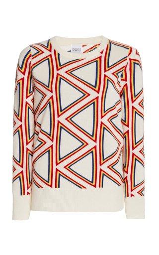 Triangle Jacquard-Knit Cashmere Sweater