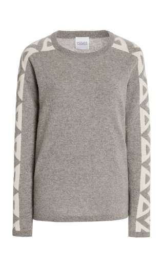Triangle-Trimmed Cashmere Sweater