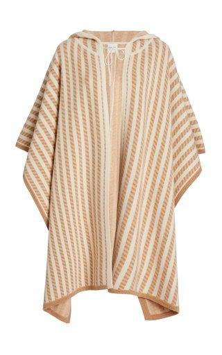 Striped Wool-Blend Poncho