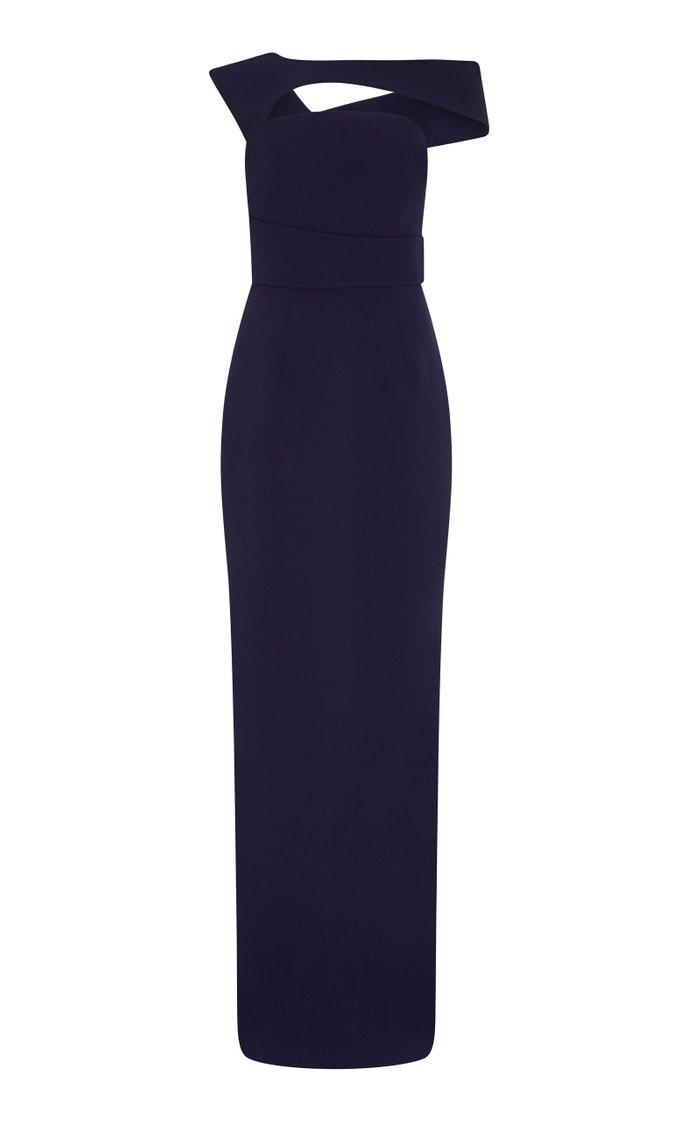 Graciela Crystal-Embellished Heavy Crepe Gown