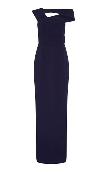 Graciela Crystal-Embellished Heavy Crepe Gown