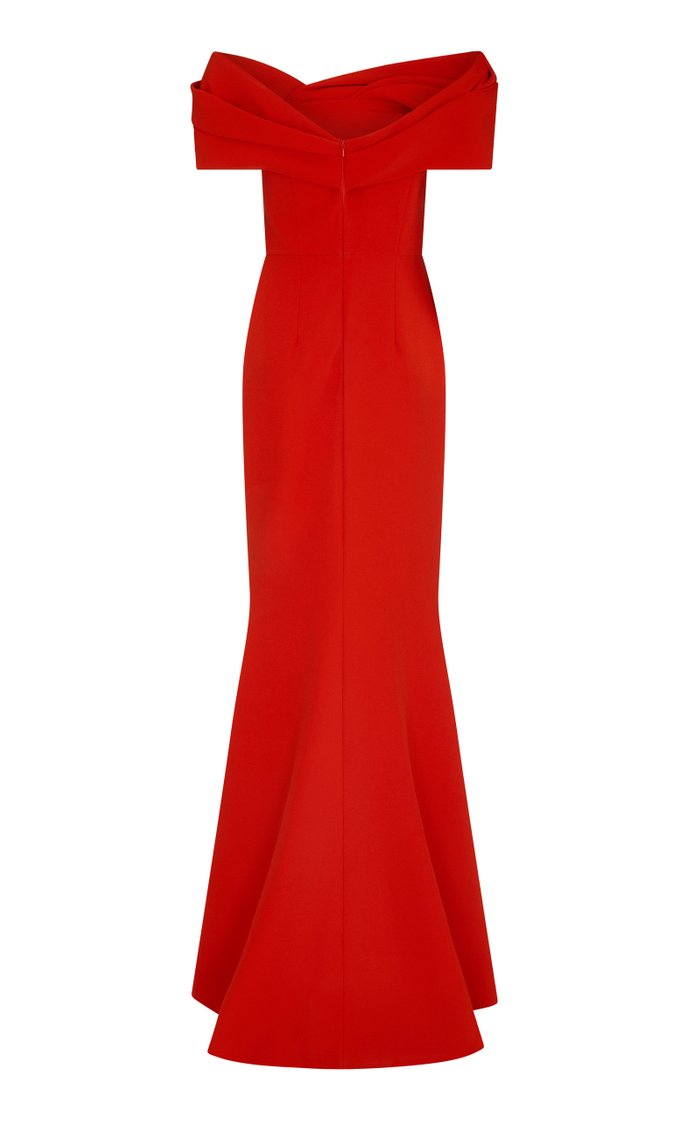 Rosa Heavy Crepe Off-The-Shoulder Gown