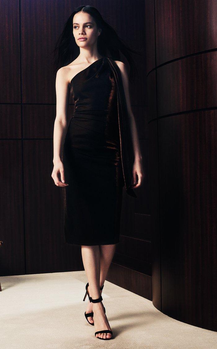 Rima Draped Metallic-Jersey One-Shoulder Midi Dress
