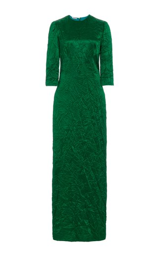 Crinkled Silk Satin Maxi Dress