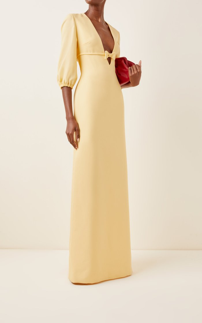 Bow-Detailed Crepe Gown