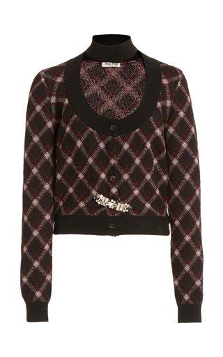 Embellished Cutout Plaid Wool Cropped Cardigan