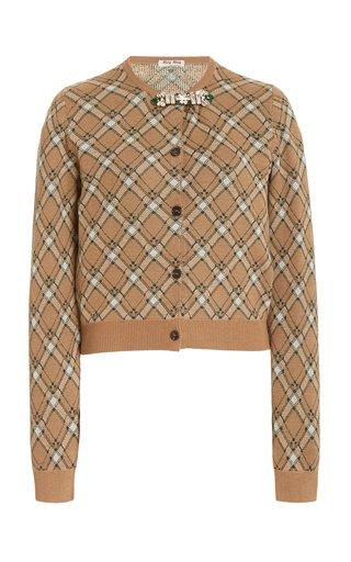 Embellished Plaid Wool Cropped Cardigan