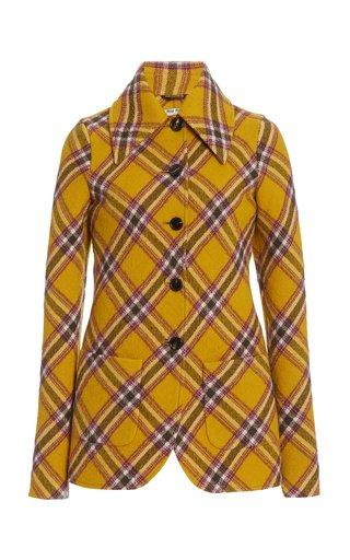 Plaid Wool-Cotton Blazer