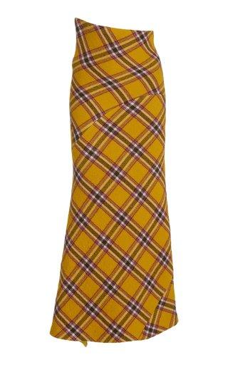High-Rise Asymmetric Plaid Wool-Cotton Midi Skirt