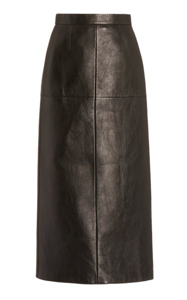 High-Rise Leather Pencil Skirt