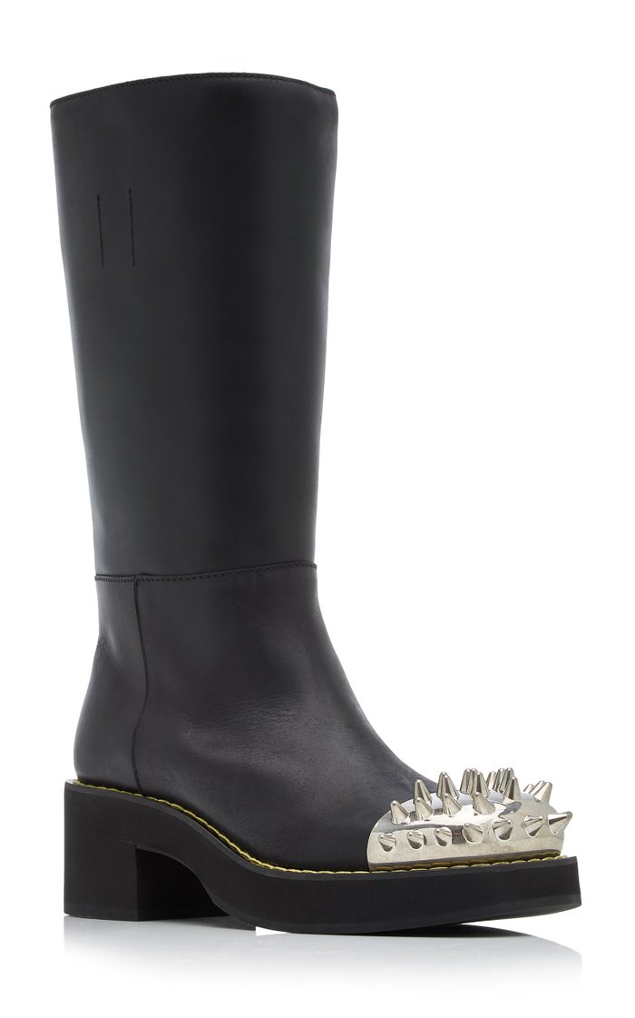 Spike-Embellished Knee-High Leather Boots