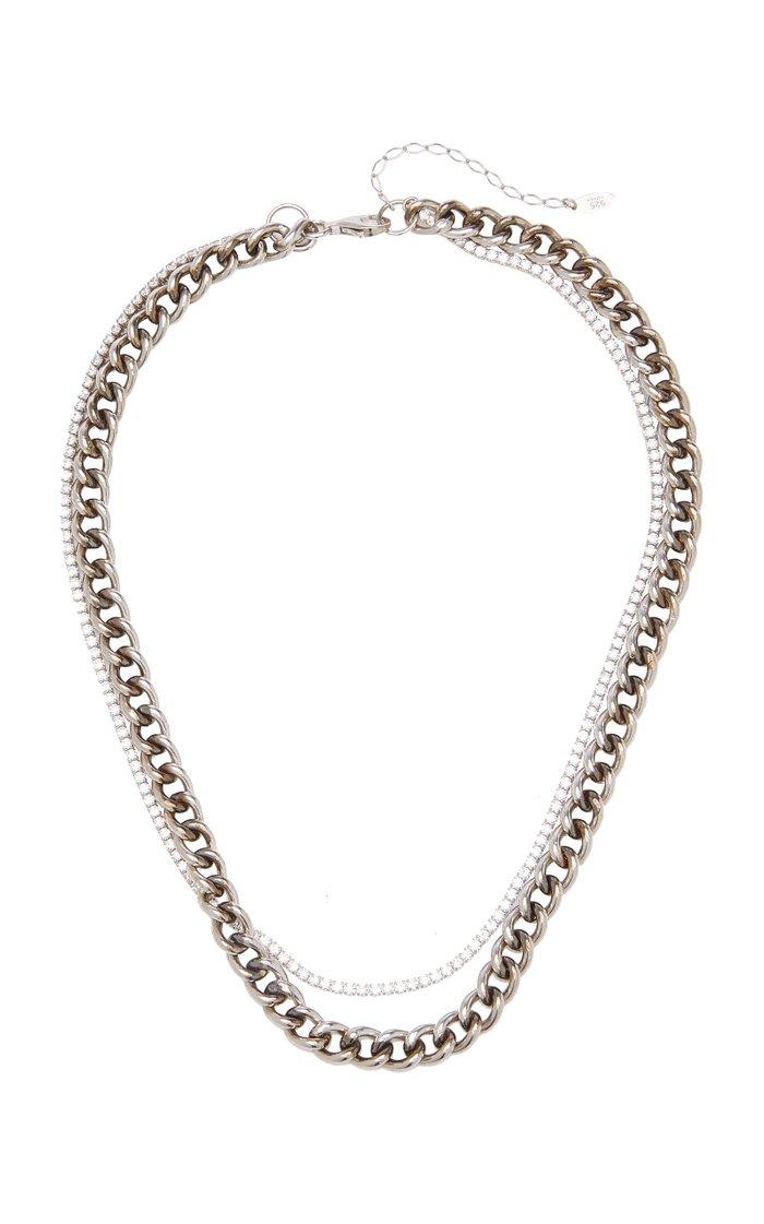 Atomic Crystal-Embellished Sterling Silver Necklace