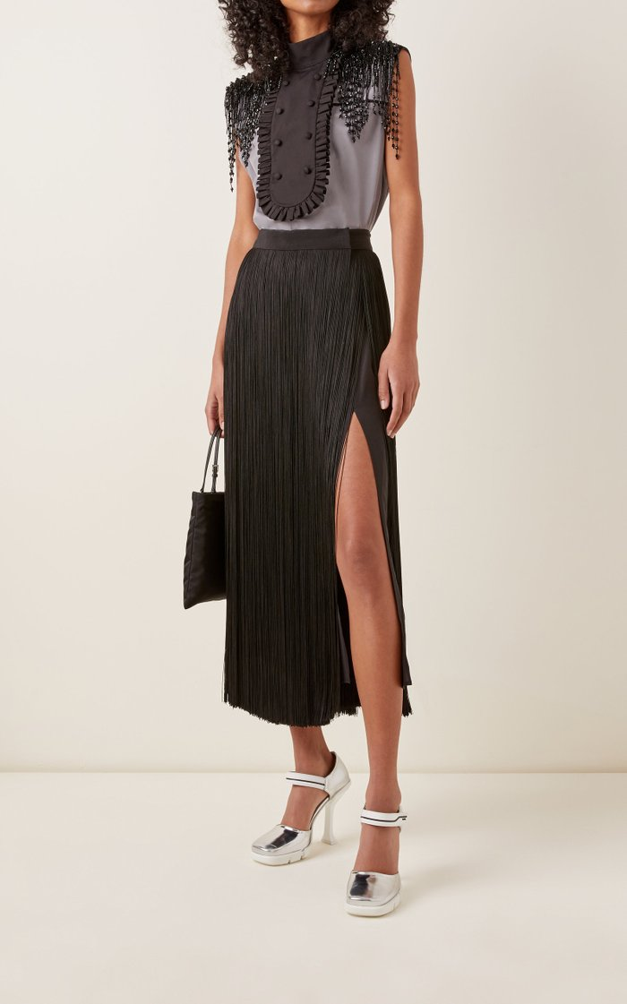 High-Rise Fringed Organza Skirt