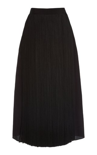 High-Rise Fringed Organza Skirt