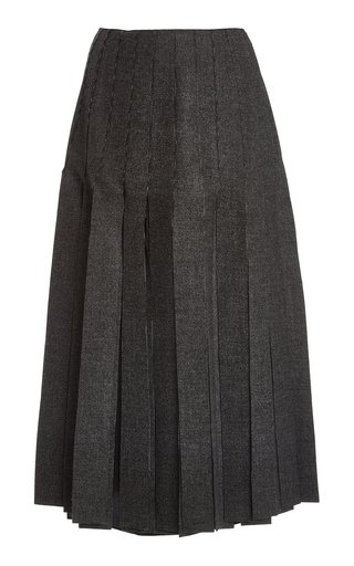 Fringed Wool Midi Skirt