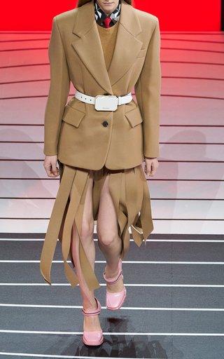 Fringed Wool Midi Skirt