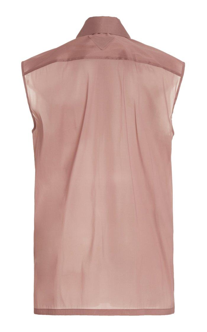 Sleeveless Silk-Blend Shirt