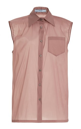 Sleeveless Silk-Blend Shirt