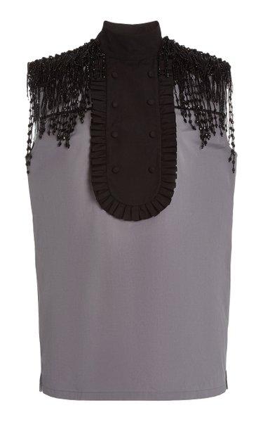 Beaded Cotton Poplin Bib-Front Shirt