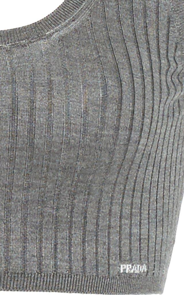Ribbed Silk Cropped Bra Top