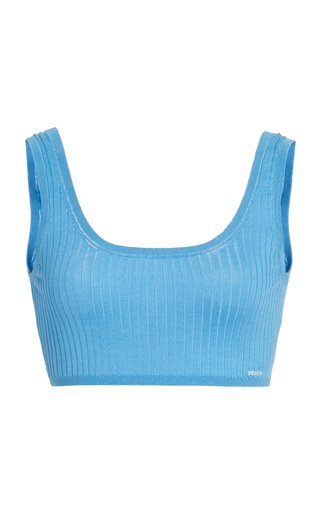 Ribbed Silk Cropped Bra Top