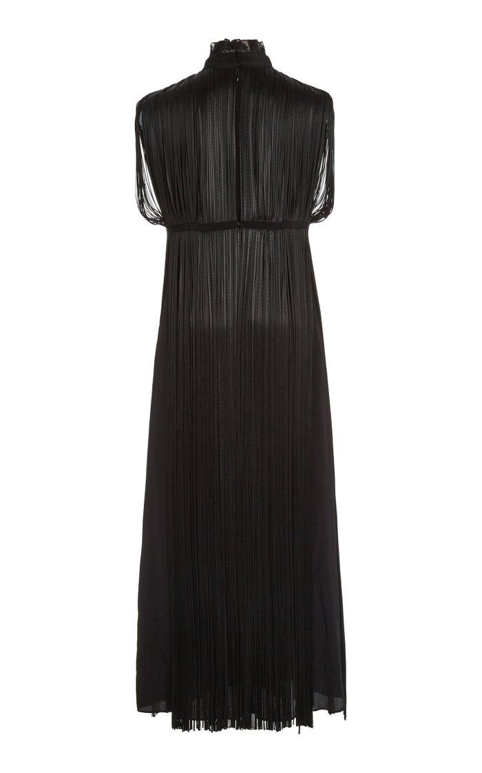 Fringed Organza Midi Dress