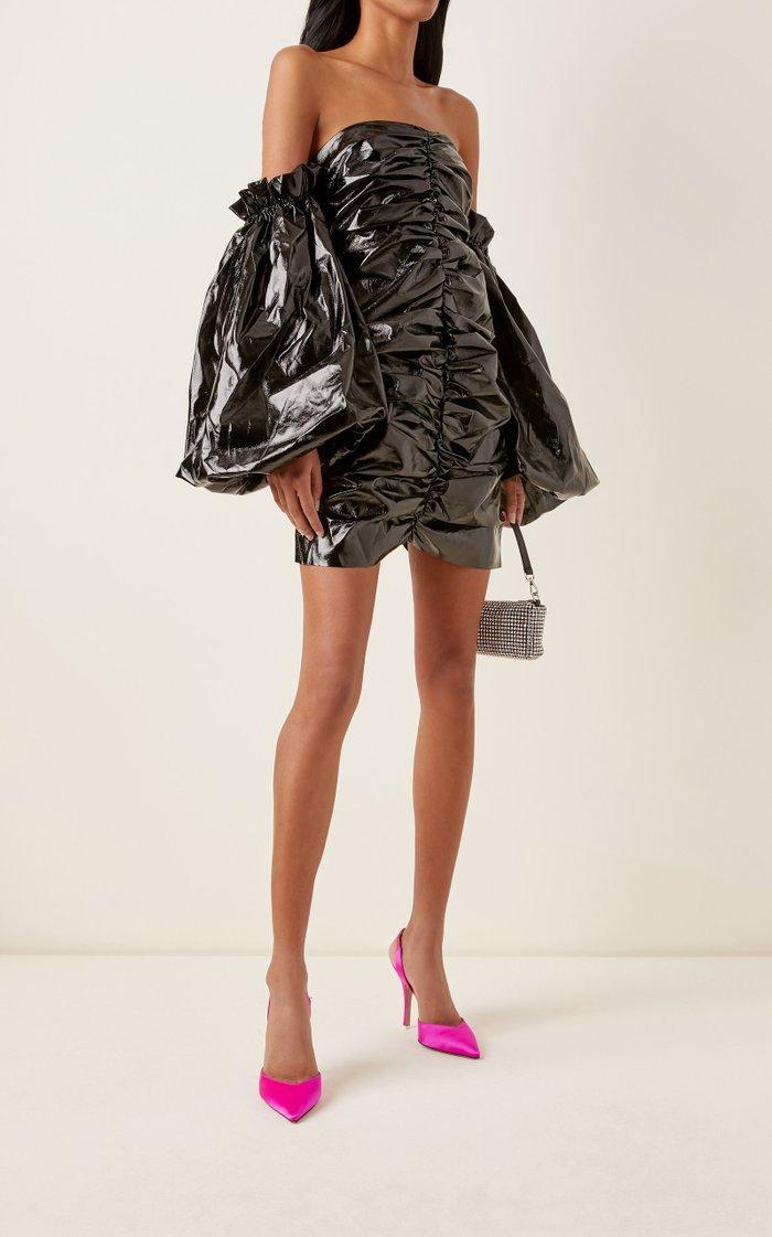 Phoebe Off-The-Shoulder Ruched Vinyl Mini Dress