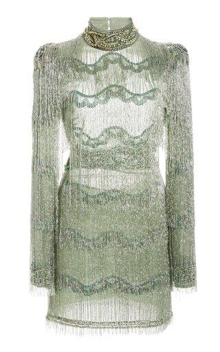 Metal Braid Fringe Mini Dress